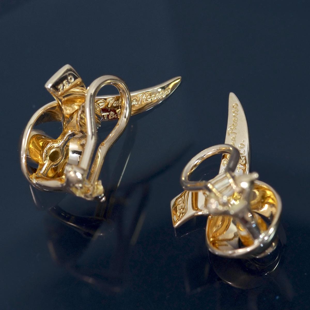 E9962【Tiffany&Co. 1837】ティファニー パロマピカソ 天然絶品ダイヤモンド2pcs 最高級18金無垢イヤリング 重量7.9g 幅13.6×23.3mm_画像3