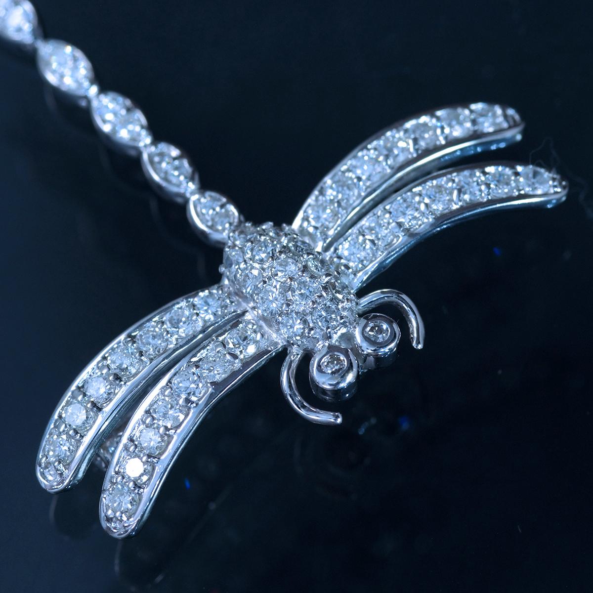 E9969【dragonfly】トンボ 美しい天然ダイヤモンド1.11ct 最高級18金/14金WG無垢ブローチ/ペンダントトップ 重量4.91g 幅37.4×34.0mm_画像3