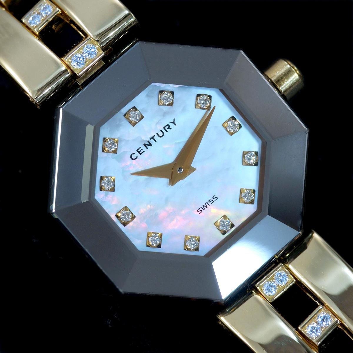 E9768【CENTURY】センチュリー 純正ダイヤモンド 最高級18金無垢セレブリティレディQZ 腕周り16cm 重量61.31g ケース幅22.7mm_画像3
