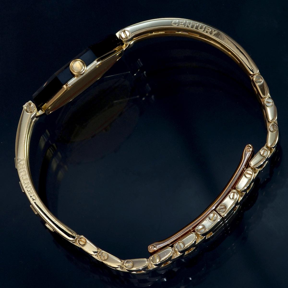 E9768【CENTURY】センチュリー 純正ダイヤモンド 最高級18金無垢セレブリティレディQZ 腕周り16cm 重量61.31g ケース幅22.7mm_画像5