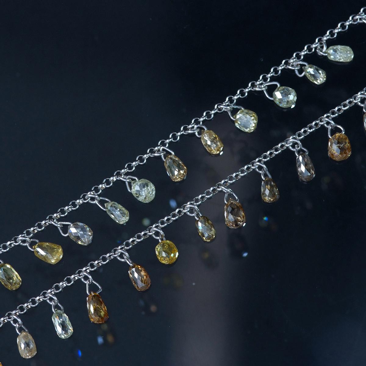 E9726【ブリオレットカット】天然ピンクダイヤモンド他、カラーダイヤモンド19.28ct 最高級18金WG無垢セレブリティネックレス_画像1