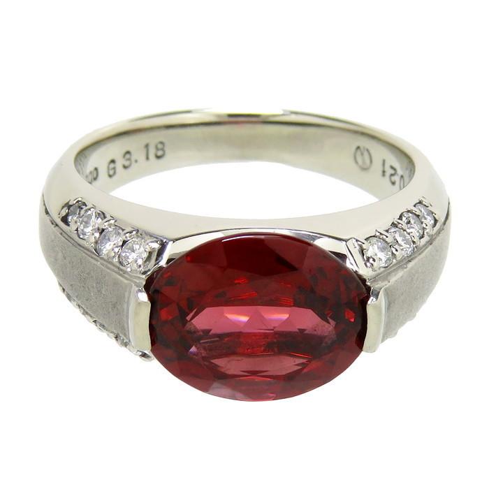 12号 一部艶消し加工 ロードライト ガーネット 3.18ct ダイヤモンド 計0.21ct リング・指輪 Pt900プラチナ_画像2