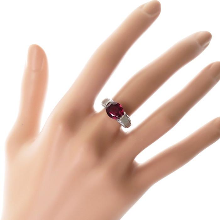 12号 一部艶消し加工 ロードライト ガーネット 3.18ct ダイヤモンド 計0.21ct リング・指輪 Pt900プラチナ_画像7