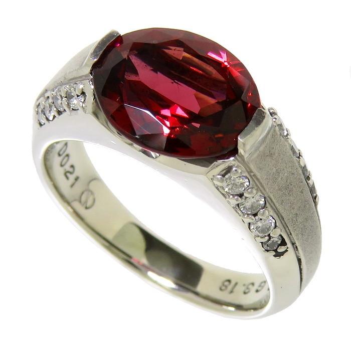 12号 一部艶消し加工 ロードライト ガーネット 3.18ct ダイヤモンド 計0.21ct リング・指輪 Pt900プラチナ_画像1