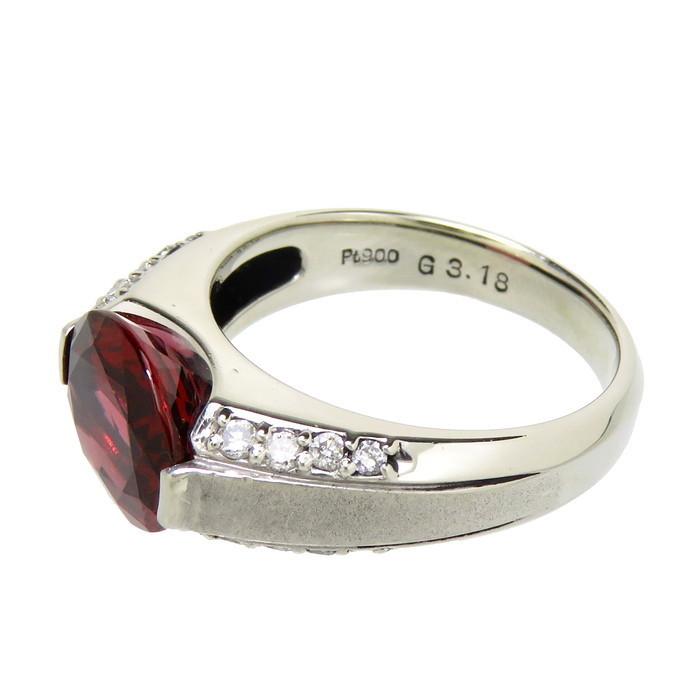 12号 一部艶消し加工 ロードライト ガーネット 3.18ct ダイヤモンド 計0.21ct リング・指輪 Pt900プラチナ_画像3