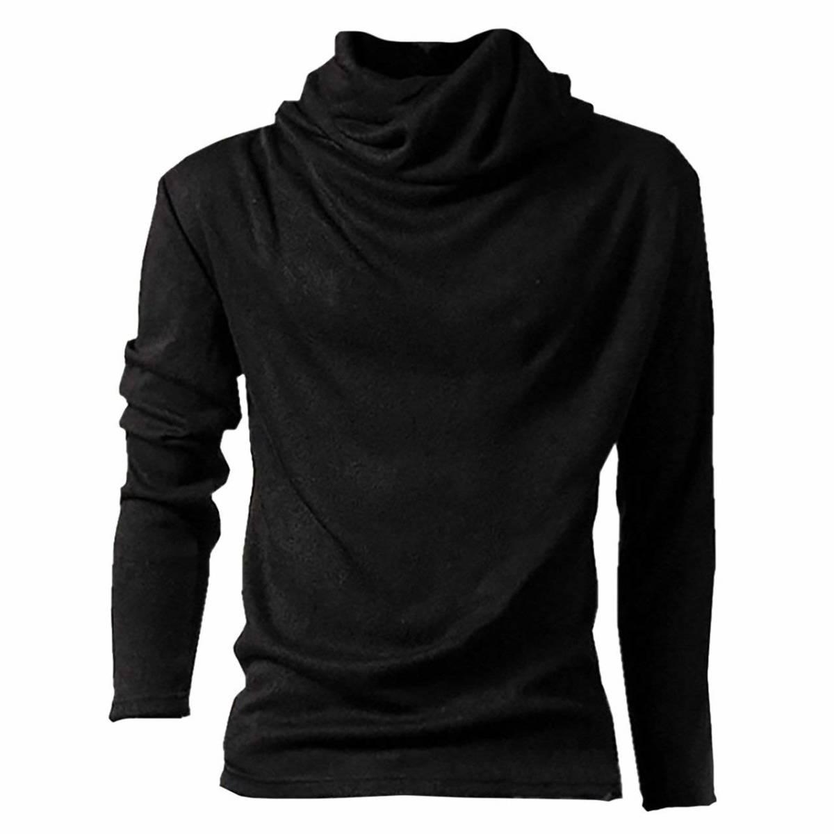 アフガン タートルネック 長袖 XLサイズ カットソー ロング Tシャツ メンズ ブラック
