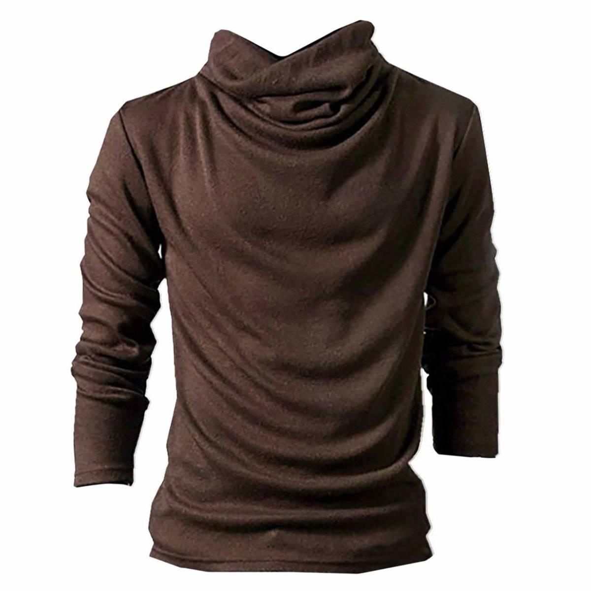 アフガン タートルネック Lサイズ 長袖 カットソー ブラウン ロング Tシャツ メンズ