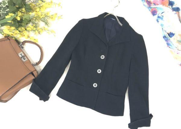 d429★2.4万 ロペ ROPE' コットン ツイル 七分袖 ジャケット クリアボタンがかわいい レディース アウター トップス テーラード ブラック_画像1