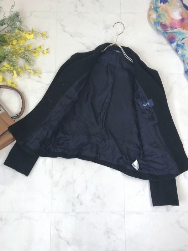 d429★2.4万 ロペ ROPE' コットン ツイル 七分袖 ジャケット クリアボタンがかわいい レディース アウター トップス テーラード ブラック_画像6