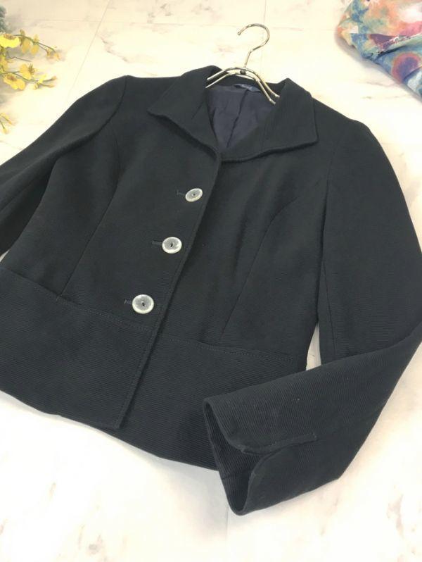 d429★2.4万 ロペ ROPE' コットン ツイル 七分袖 ジャケット クリアボタンがかわいい レディース アウター トップス テーラード ブラック_画像4