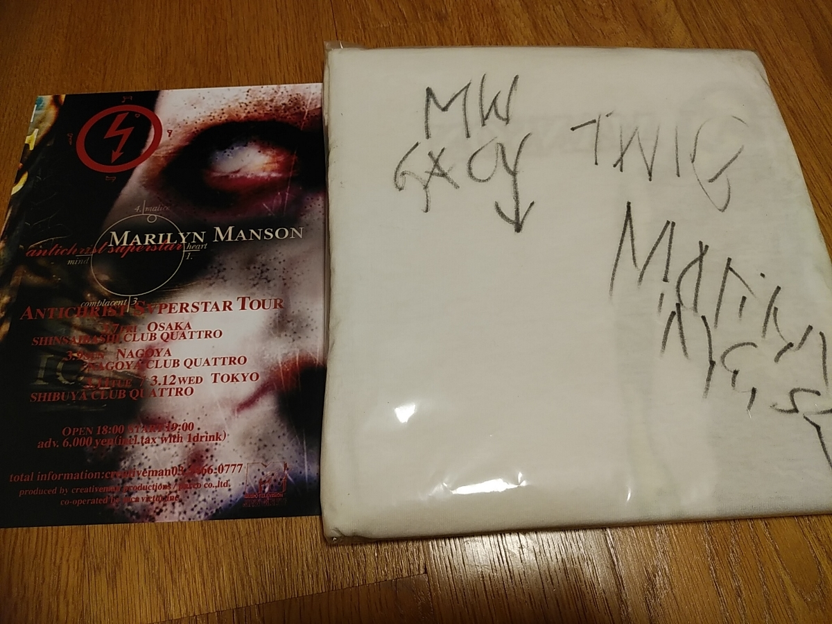 Marilyn Manson マリリンマンソン サイン 入り Tシャツ antichrist superstar 初来日 1997年 / knotfest sign tool lp nine inch nails_画像1