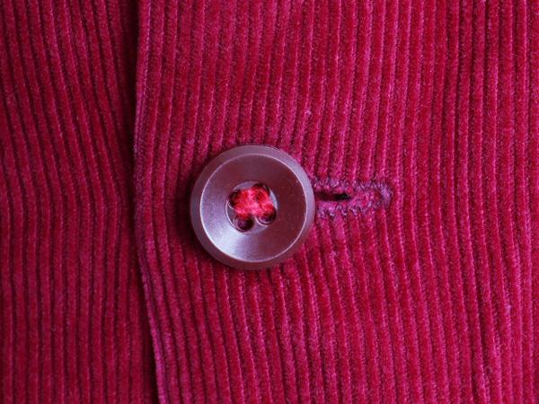 50's ビンテージ ★ Sportwear 細畝 コーデュロイ オープンカラー 長袖 シャツ ( メンズ 男性 15 M 151/2 ) 古着 50年代 開襟シャツ エンジ_画像5