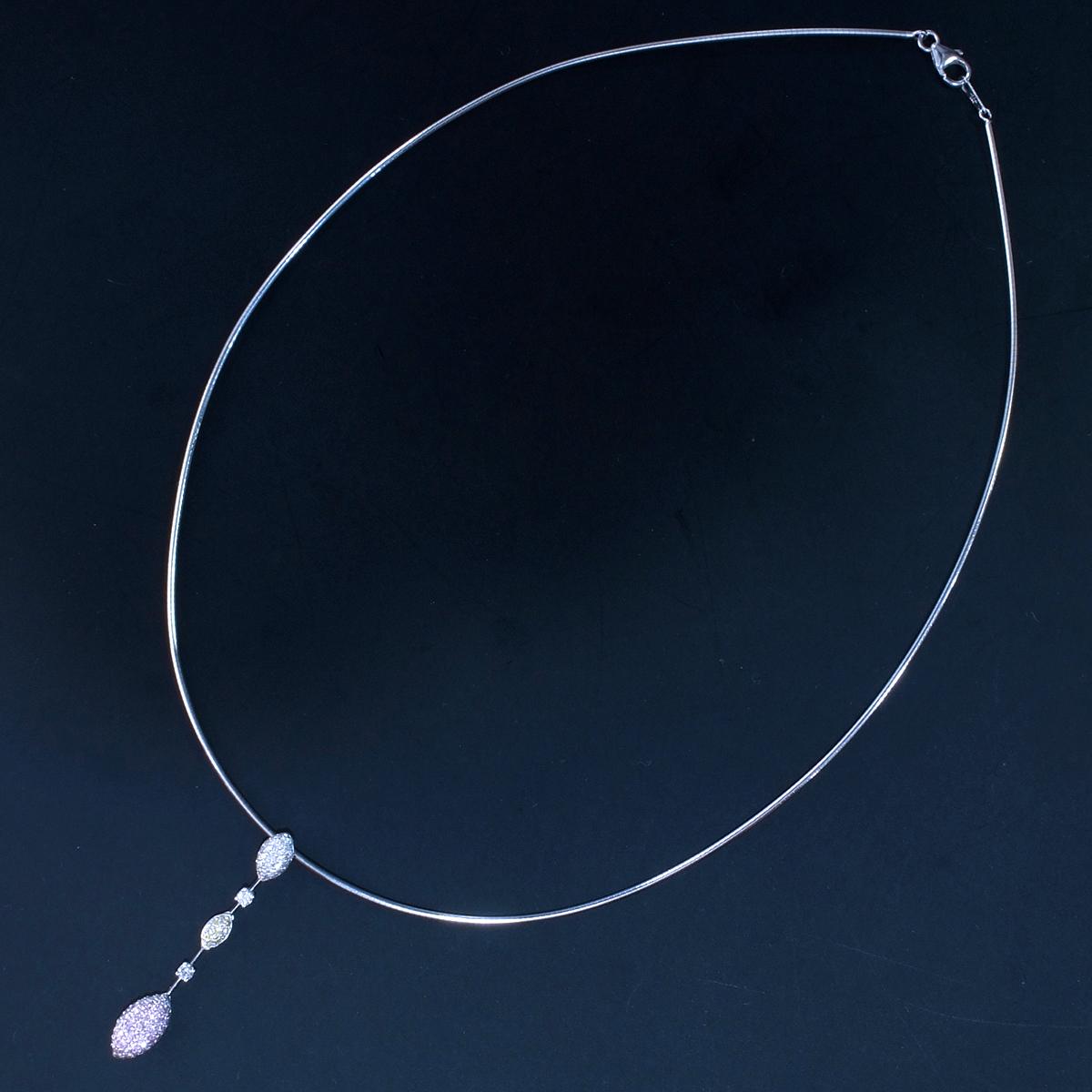 E9854 天然ピンク、イエロー、カラーレスダイヤモンド0.75ct 最高級18金WG無垢オメガネックレス_画像5