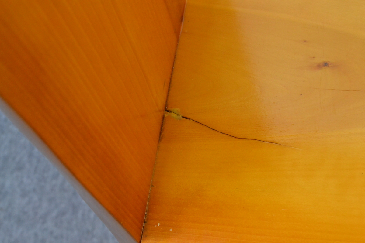 g390■和風 飾り棚■外寸 約幅1300×奥行き325×高さ1160mm■樺材_ひび割れがございます。