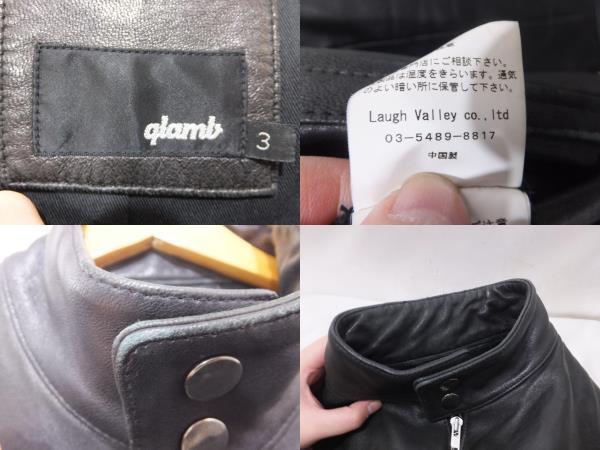 glamb グラム シングルレザーライダース サイズ3 ブラック アウター_画像3