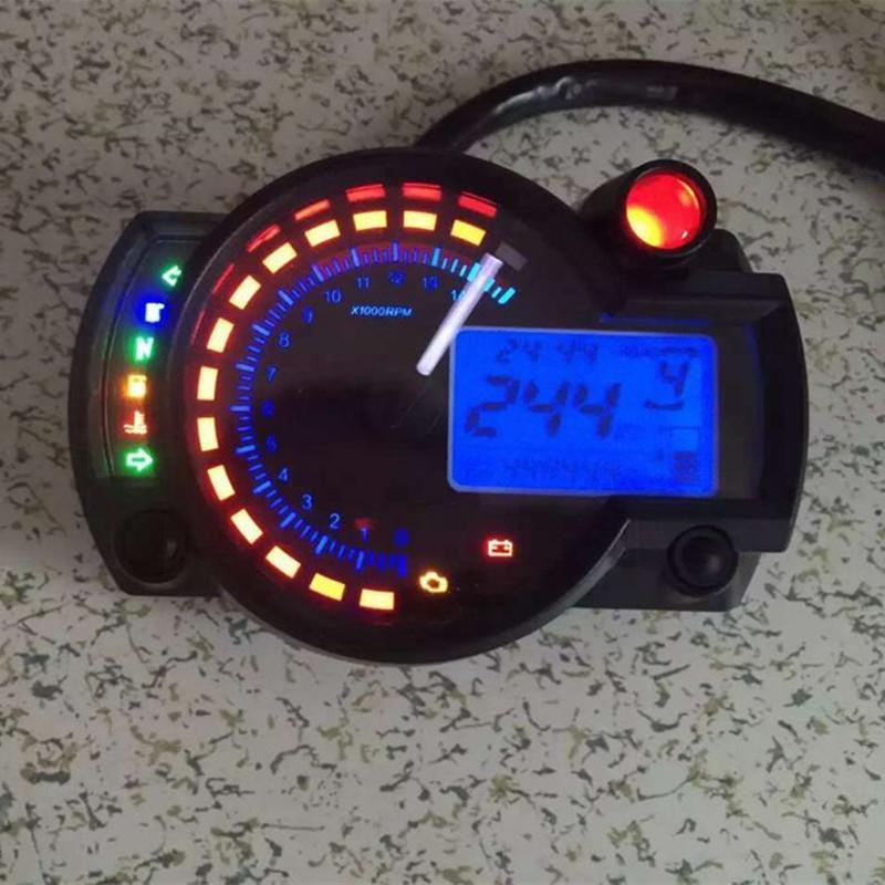 【送料無料】784 液晶デジタル汎用タコメータ 2 色バックライトオートバイスピードメーター走行距離最大毎時 299 キロ【領収発行可】_画像2