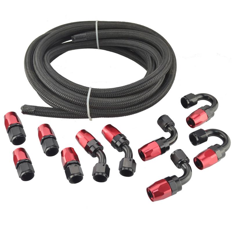 357 オイルクーラーメッシュホースセット 5m ホースエンド 10個セット AN8 赤黒 接手ホース 燃料パイプフィッティング アダプター_画像2