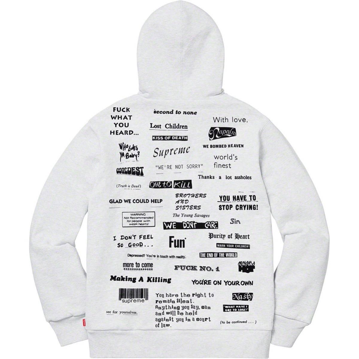 19AW Box LOGO Supreme Stop Crying Hooded Sweatshirt Ash Grey グレー シュプリーム パーカー ボックスロゴ オンライン 完売 サイズS_画像2