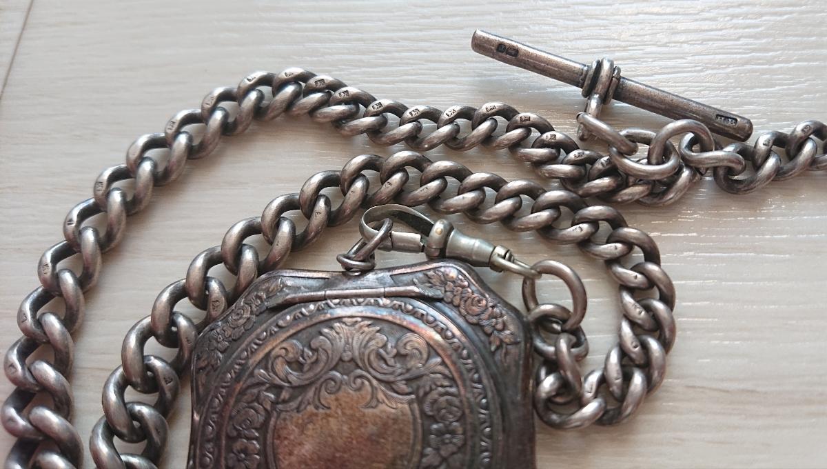 1800年代 銀無垢 英国 アンティーク 懐中時計 アールデコ シルバー ヴィンテージ イギリス クロムハーツ 925 ブレス ウォレット チェーン_画像5