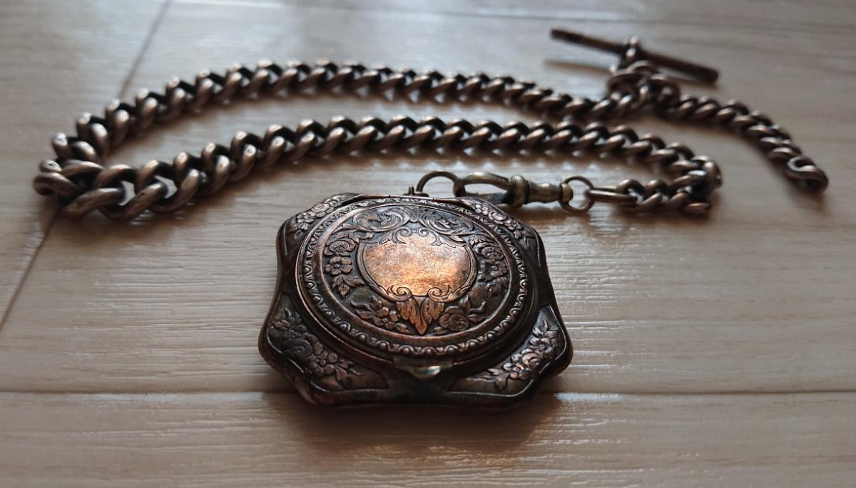 1800年代 銀無垢 英国 アンティーク 懐中時計 アールデコ シルバー ヴィンテージ イギリス クロムハーツ 925 ブレス ウォレット チェーン_画像2