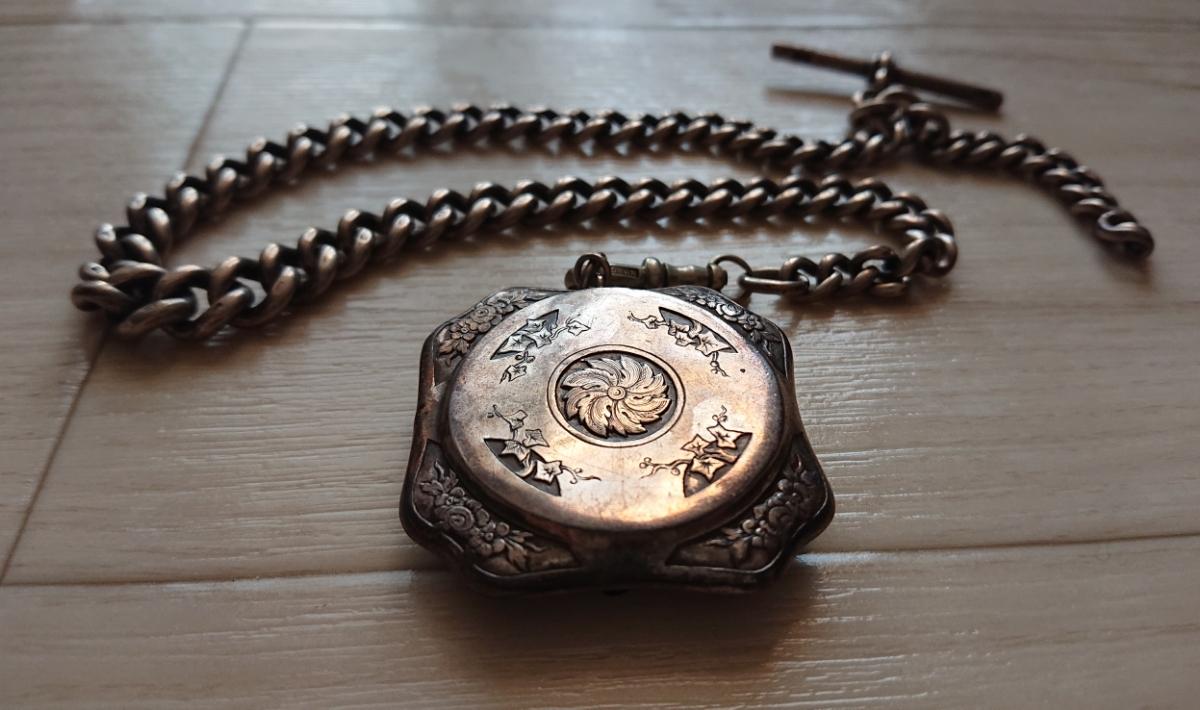 1800年代 銀無垢 英国 アンティーク 懐中時計 アールデコ シルバー ヴィンテージ イギリス クロムハーツ 925 ブレス ウォレット チェーン_画像3