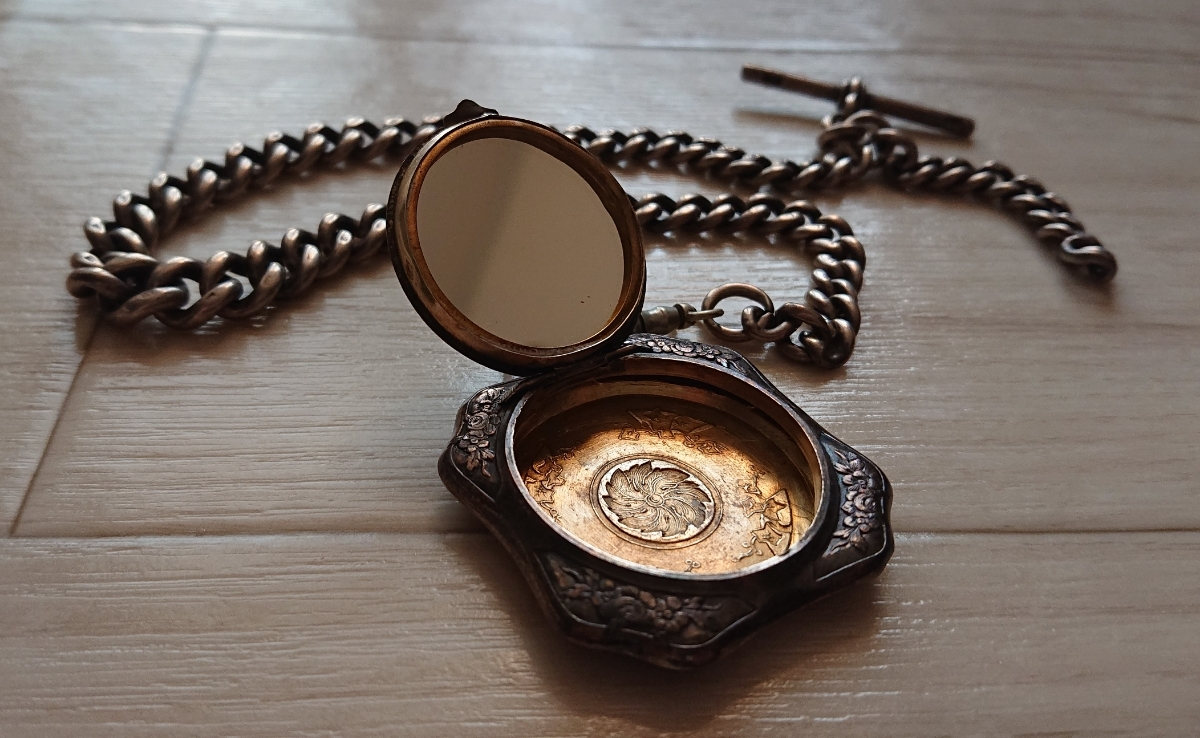 1800年代 銀無垢 英国 アンティーク 懐中時計 アールデコ シルバー ヴィンテージ イギリス クロムハーツ 925 ブレス ウォレット チェーン_画像4