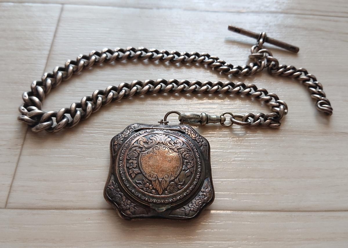 1800年代 銀無垢 英国 アンティーク 懐中時計 アールデコ シルバー ヴィンテージ イギリス クロムハーツ 925 ブレス ウォレット チェーン