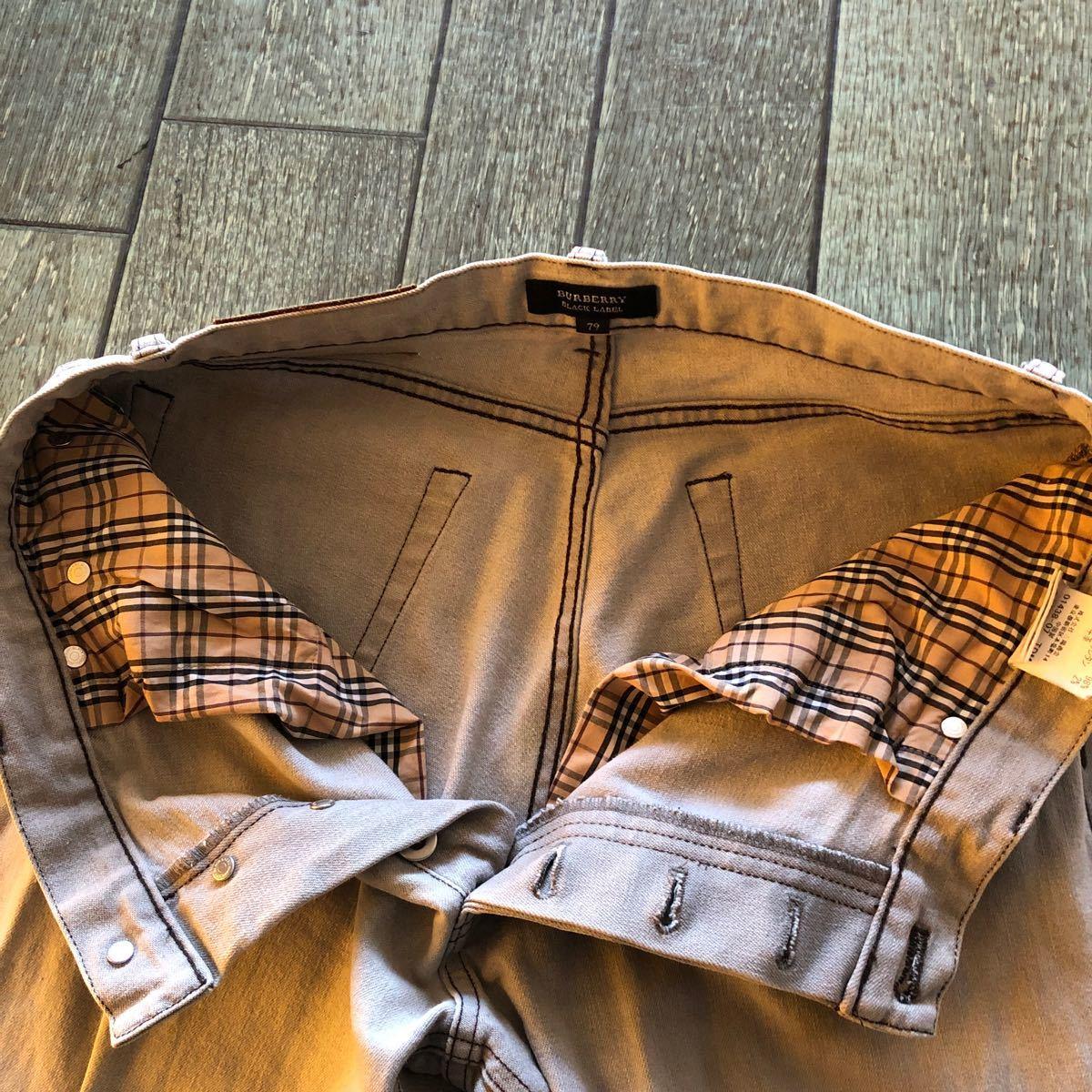バーバリー ブラックレーベル デニム 三洋商会 79cm ライトグレー 中古品