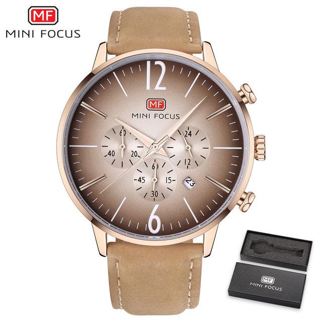 【お買い得◆最低落札価格無し◆新品未使用◆ハイブランド】MINI FOCUS 高級 メンズ クォーツ式 腕時計 防水 クロノグラフ 色選択可◆1049_画像5