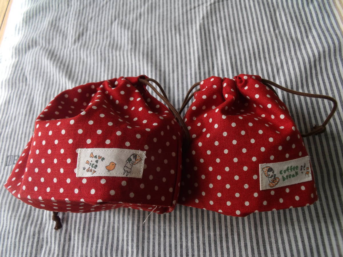 お弁当袋コップ袋ハンドメイド赤水玉女の子入園準備