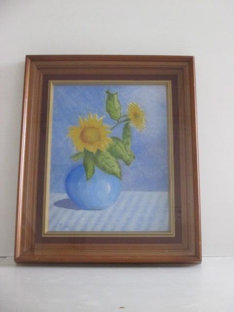 油彩画 静物画 『向日葵』 [Eikiti Honda] 額装(約) 「縦:56.5 cm × 横:47.5 cm × 厚み:6 cm」