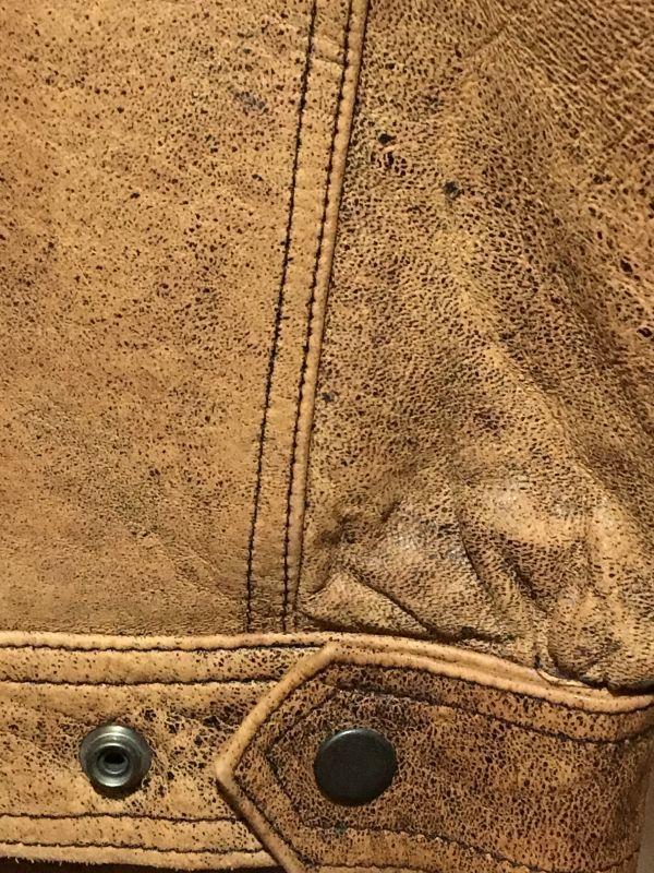 Gジャン型 フライトジャケット ★ オール レザー ヴィンテージ加工 羊革 茶系 M 美品