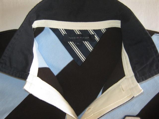 ★古着 TOMMY HILFIGER トミーヒルフィガー ラガーシャツ XL 斜めストライプ柄 黒×水色×紺 ラグビージャージ★_画像4