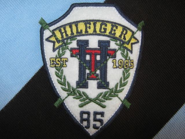 ★古着 TOMMY HILFIGER トミーヒルフィガー ラガーシャツ XL 斜めストライプ柄 黒×水色×紺 ラグビージャージ★_画像8