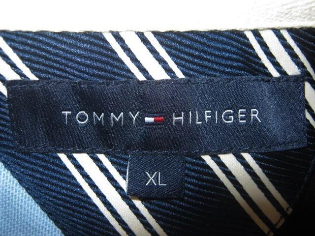 ★古着 TOMMY HILFIGER トミーヒルフィガー ラガーシャツ XL 斜めストライプ柄 黒×水色×紺 ラグビージャージ★_画像9