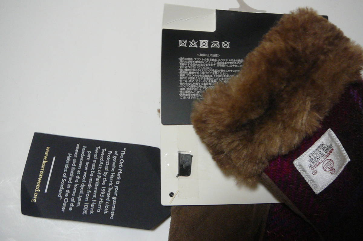 ●ハリスツイードレディース手袋 毛・豚革、スマホ対応_画像4