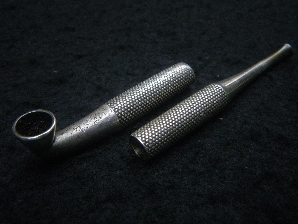 古キセル 部品 34g 煙管 吸口と雁首 霰 日本 時代品 堤物 煙草