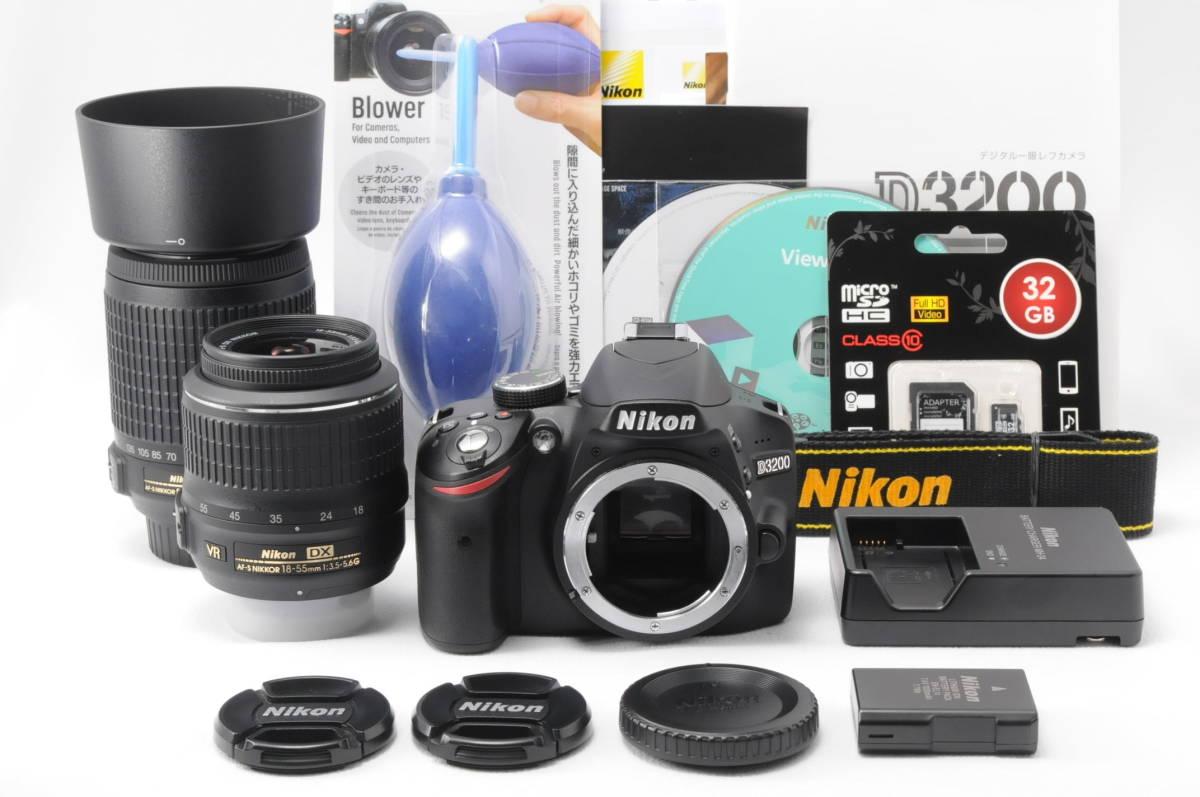 ■ほぼ新品■ニコン Nikon D3200 レンズ2本セット 《32GB SDカード・付属品多数》 #0167J31_画像2