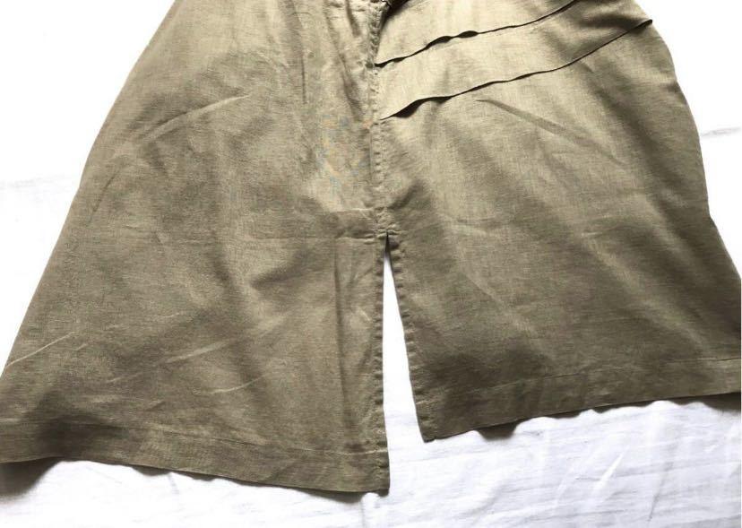 希少80s ISSEY MIYAKE イッセイミヤケ 初期 デザインノーカラーシャツ 半袖シャツ カーキ オリーブ ベージュ 緑 茶 古着ビンテージ ML 美品_画像6