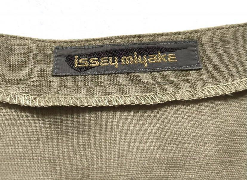 希少80s ISSEY MIYAKE イッセイミヤケ 初期 デザインノーカラーシャツ 半袖シャツ カーキ オリーブ ベージュ 緑 茶 古着ビンテージ ML 美品_画像5