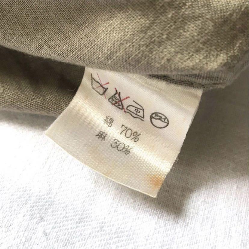 希少80s ISSEY MIYAKE イッセイミヤケ 初期 デザインノーカラーシャツ 半袖シャツ カーキ オリーブ ベージュ 緑 茶 古着ビンテージ ML 美品_画像8