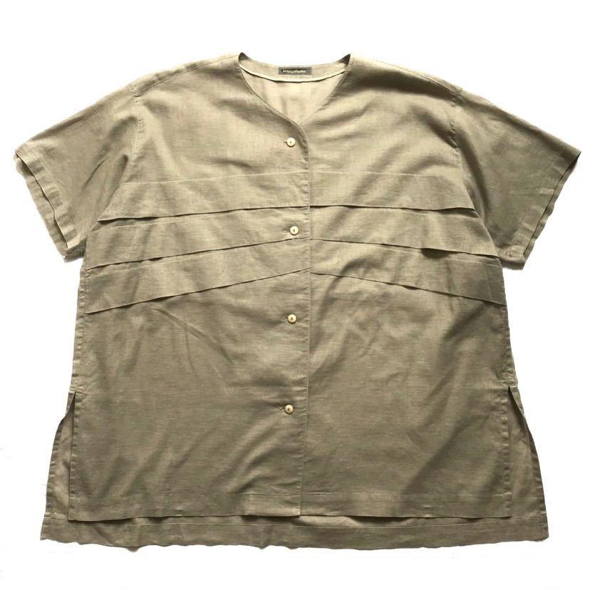 希少80s ISSEY MIYAKE イッセイミヤケ 初期 デザインノーカラーシャツ 半袖シャツ カーキ オリーブ ベージュ 緑 茶 古着ビンテージ ML 美品_画像1