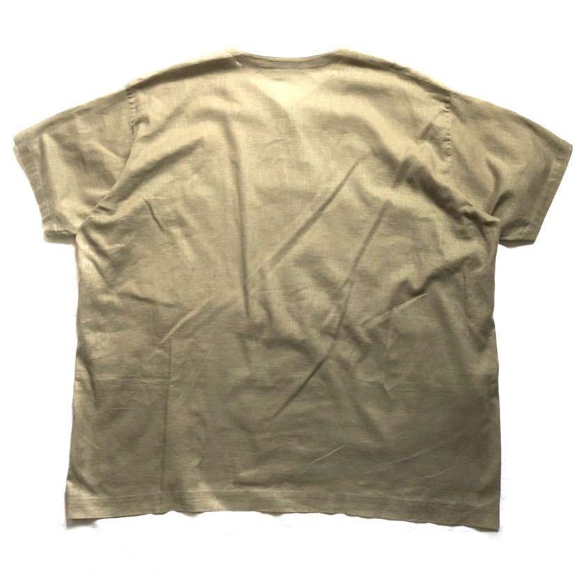 希少80s ISSEY MIYAKE イッセイミヤケ 初期 デザインノーカラーシャツ 半袖シャツ カーキ オリーブ ベージュ 緑 茶 古着ビンテージ ML 美品_画像2