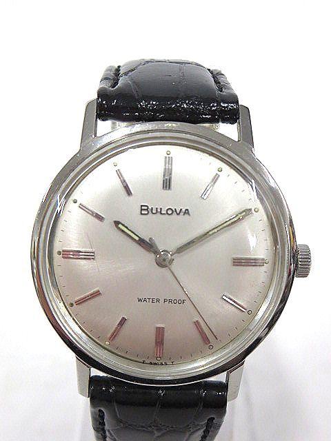 BULOVA WATER PROOF ブローバ メンズ腕時計 手巻き 3針/文字盤 ホワイトパール系 スイス製 ジャンク m16-10y_画像2