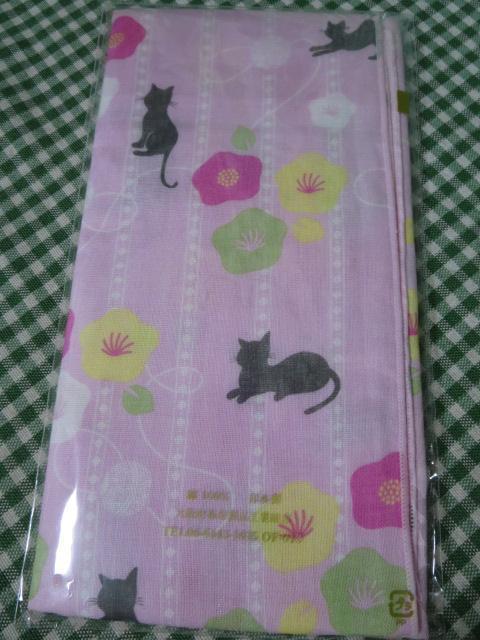 お肌にやさしいガーゼ手拭 猫柄 二重袷 ピンク_画像3