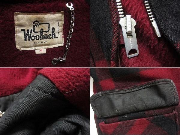 【送料無料】【Woolrich】白タグ/70's/ウールリッチ/ウールコート/フード/TALON【M】エンジ系×黒/ビンテージ/D125-18-0029X_画像3