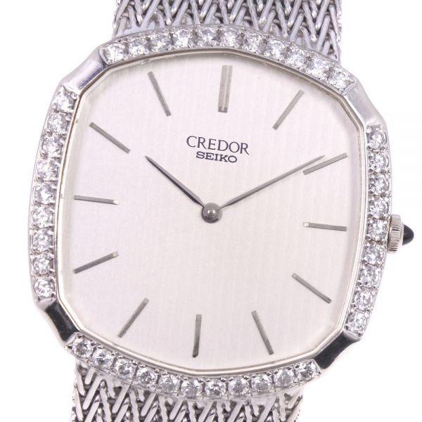 セイコー クレドール ダイヤベゼル 5930-5590 K18ホワイトゴールド クオーツ シルバー文字盤 腕時計 メンズ【20280102】