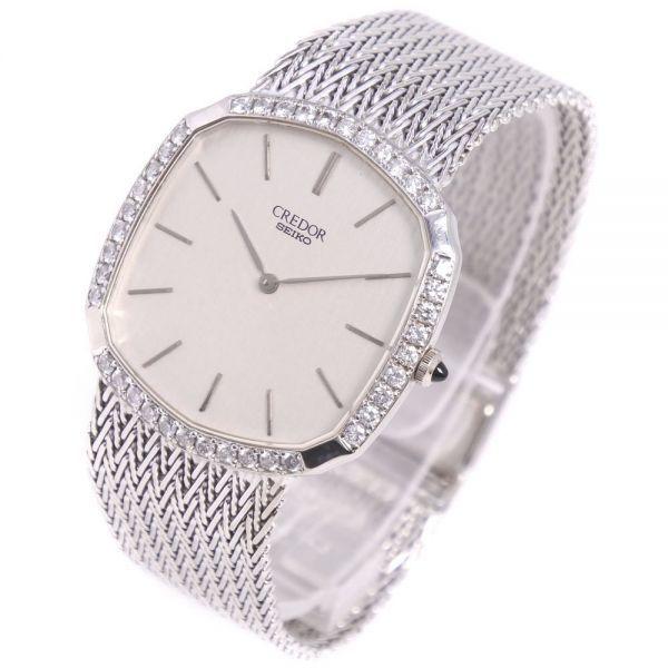 セイコー クレドール ダイヤベゼル 5930-5590 K18ホワイトゴールド クオーツ シルバー文字盤 腕時計 メンズ【20280102】_画像2