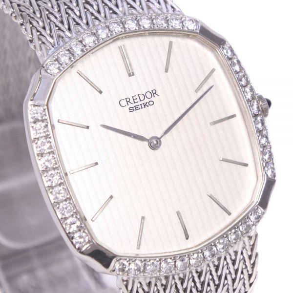 セイコー クレドール ダイヤベゼル 5930-5590 K18ホワイトゴールド クオーツ シルバー文字盤 腕時計 メンズ【20280102】_画像3