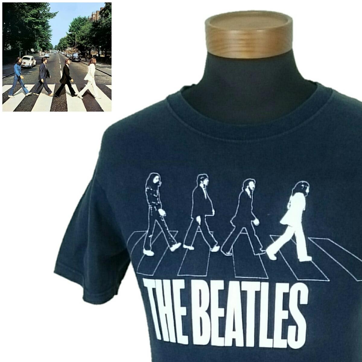 古着屋購入 90s 90年代 USA製 アメリカ製 S【THE BEATLES/ビートルズ】MENS/メンズ 男性用 半袖 Tシャツ ブラック アビーロード バンドT